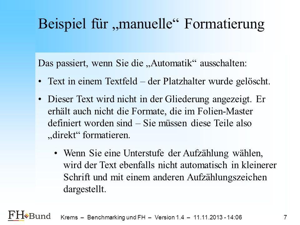 """Beispiel für """"manuelle Formatierung"""