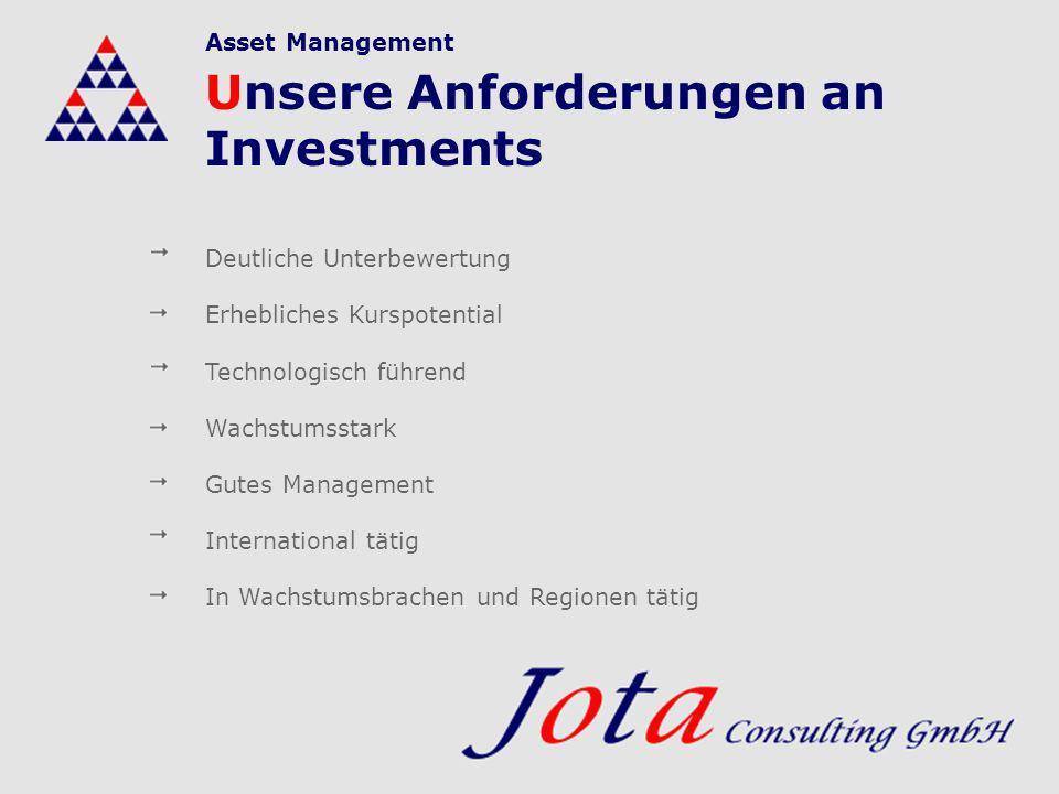 Unsere Anforderungen an Investments