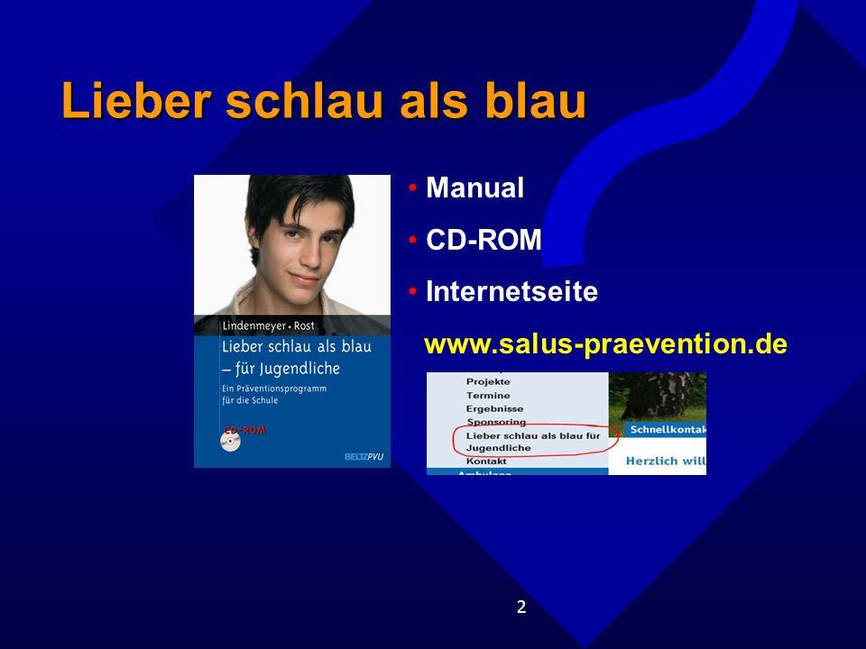 Lieber schlau als blau Manual CD-ROM Internetseite
