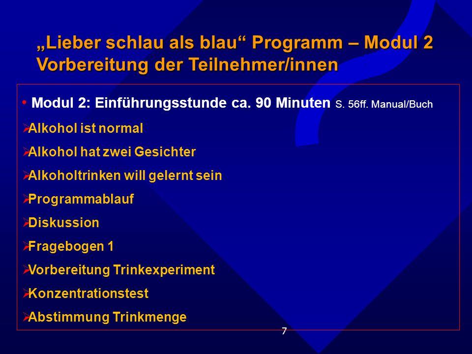 """""""Lieber schlau als blau Programm – Modul 2 Vorbereitung der Teilnehmer/innen"""