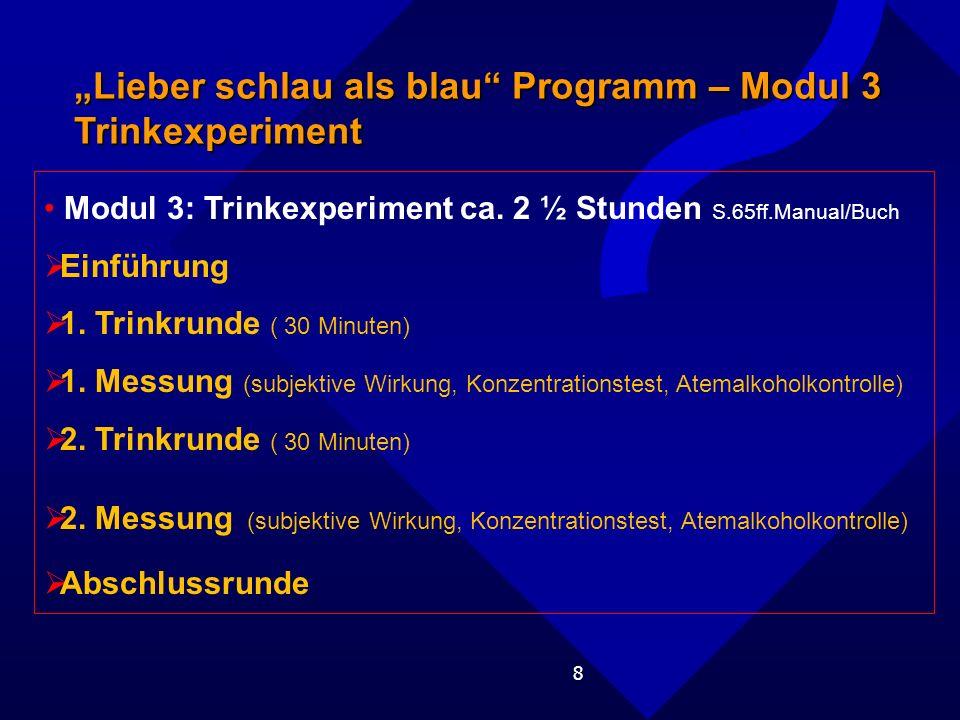 """""""Lieber schlau als blau Programm – Modul 3 Trinkexperiment"""
