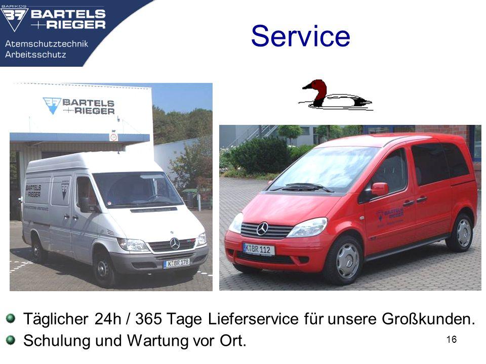 Service Täglicher 24h / 365 Tage Lieferservice für unsere Großkunden.