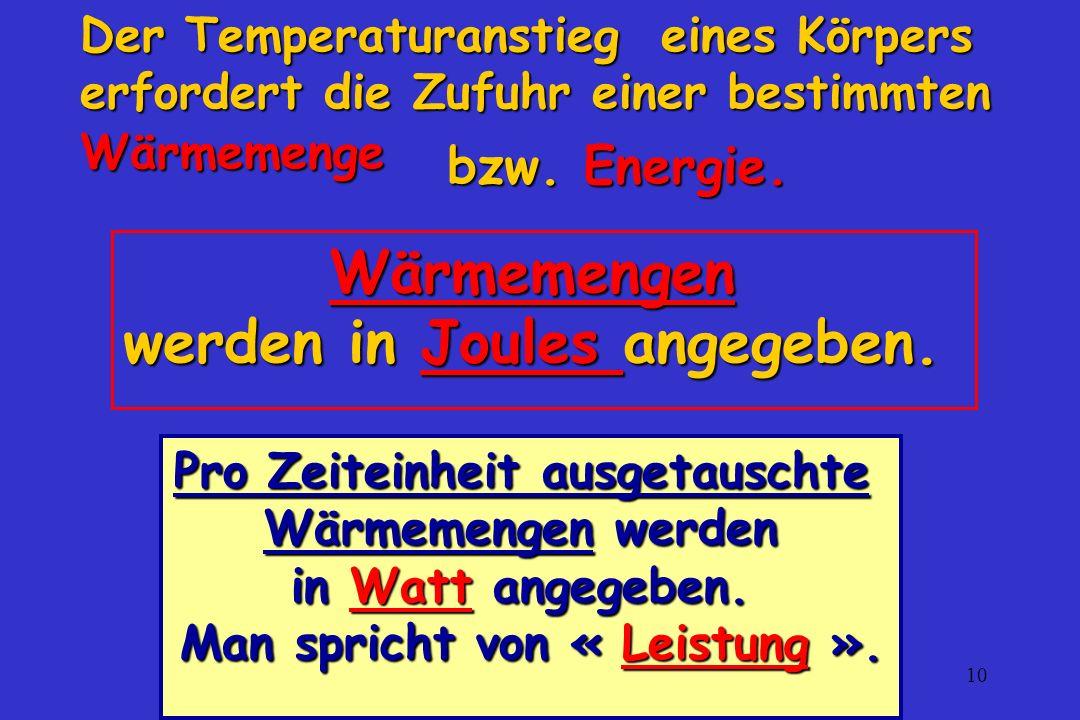Wärmemengen werden in Joules angegeben.
