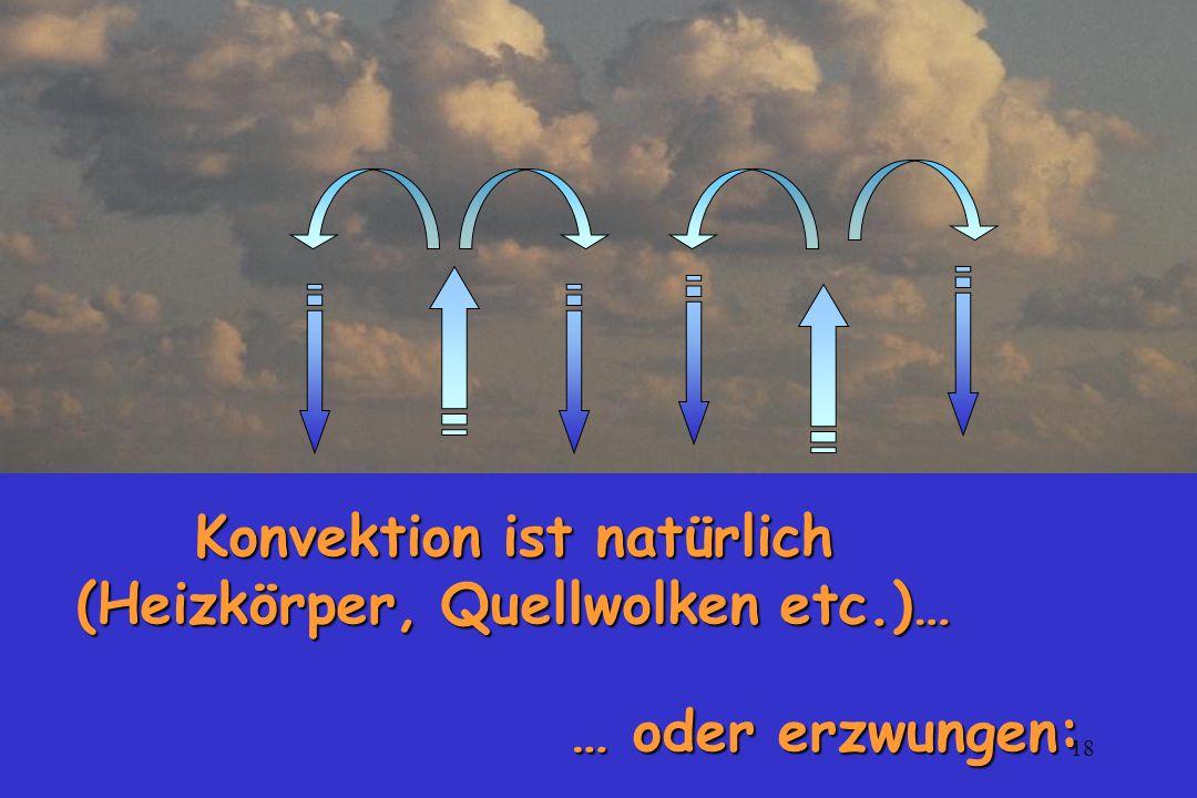 Konvektion ist natürlich (Heizkörper, Quellwolken etc.)…