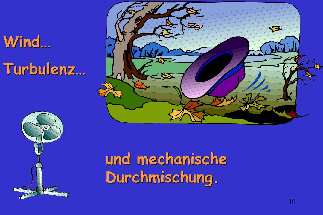 Wind… Turbulenz… und mechanische Durchmischung.