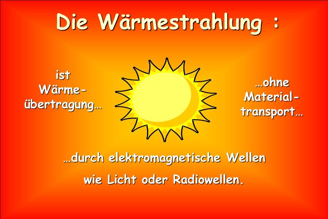 Die Wärmestrahlung : ist Wärme-übertragung… …ohne Material-transport…