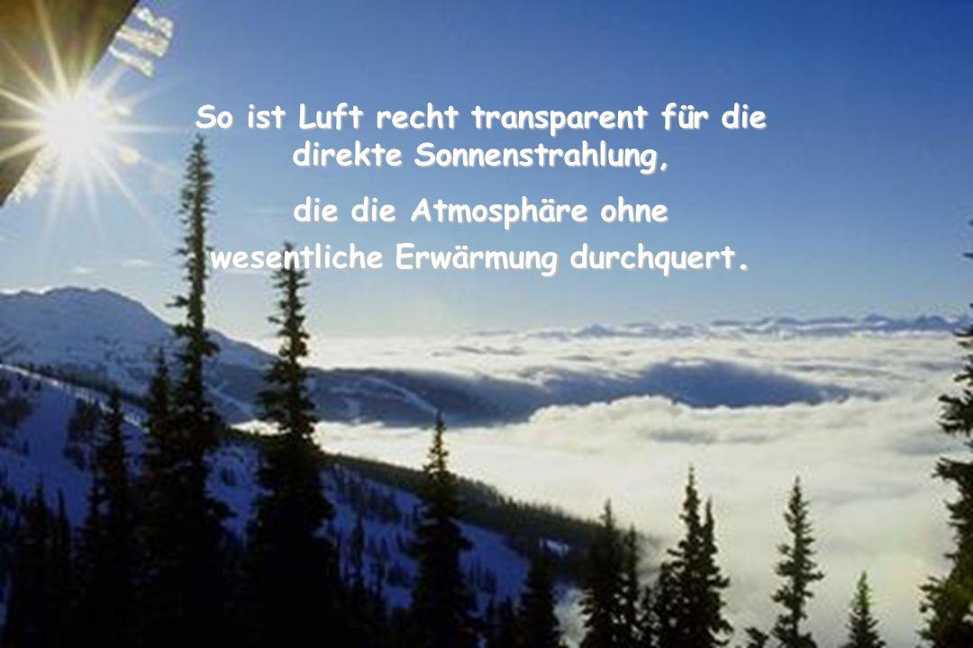 So ist Luft recht transparent für die direkte Sonnenstrahlung,