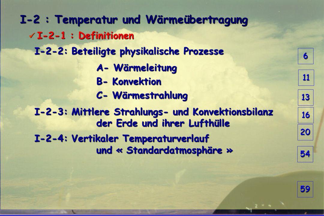 I-2 : Temperatur und Wärmeübertragung  I-2-1 : Definitionen