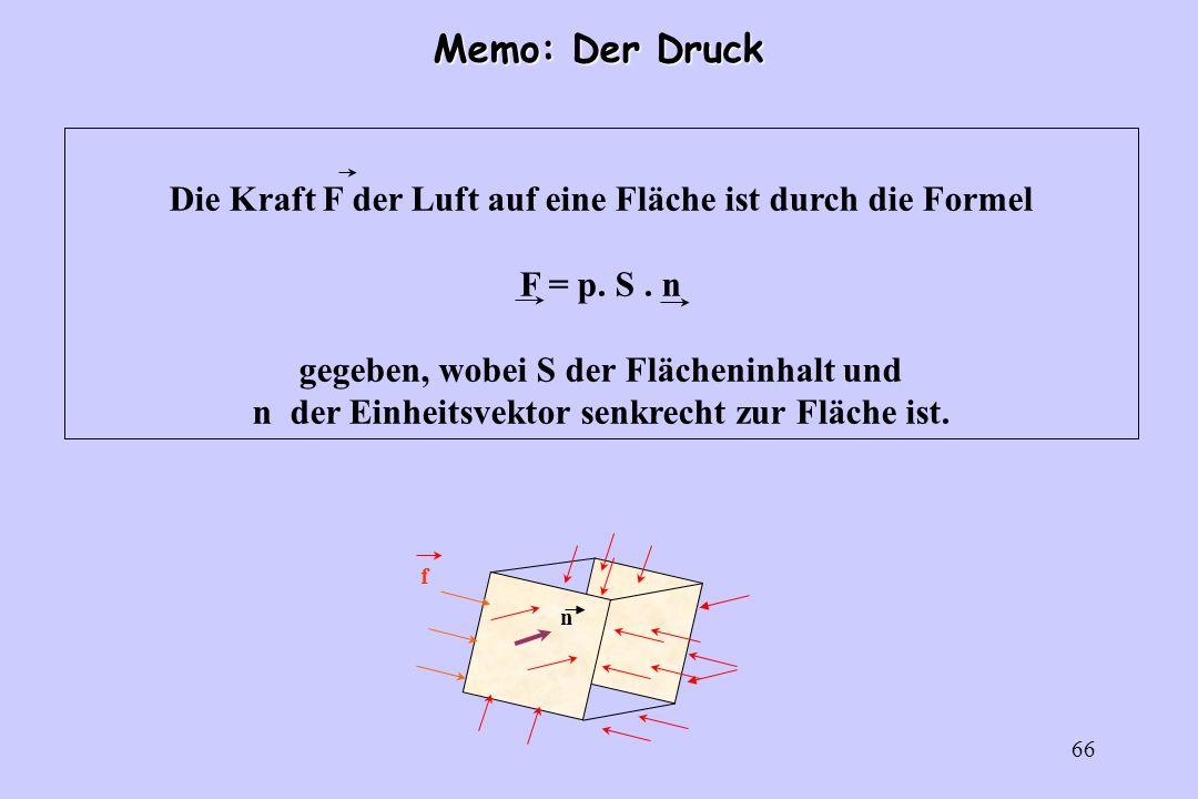 Memo: Der DruckDie Kraft F der Luft auf eine Fläche ist durch die Formel. F = p. S . n. gegeben, wobei S der Flächeninhalt und.