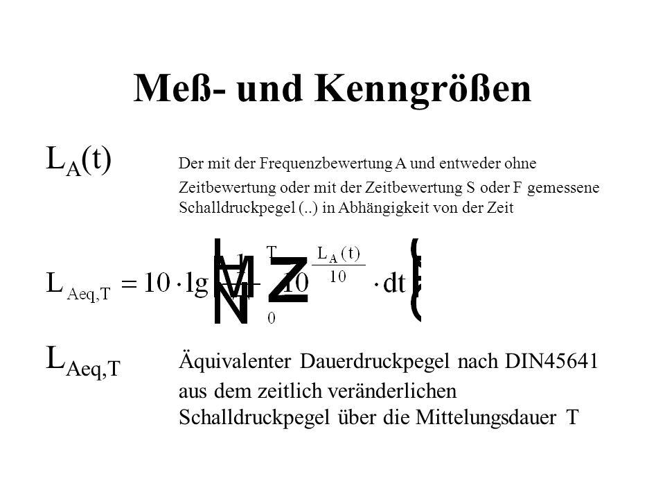 Meß- und Kenngrößen LA(t) Der mit der Frequenzbewertung A und entweder ohne Zeitbewertung oder mit der Zeitbewertung S oder F gemessene.