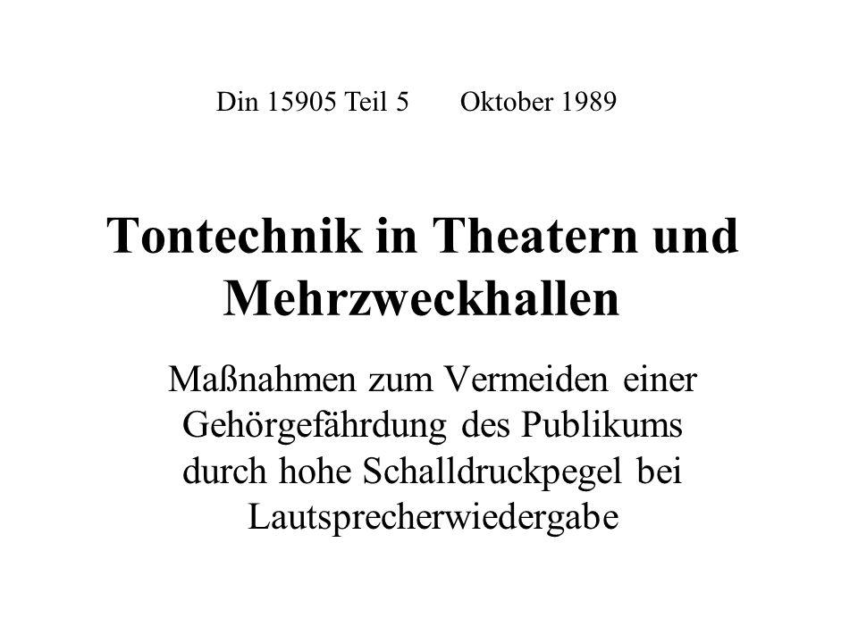Tontechnik in Theatern und Mehrzweckhallen
