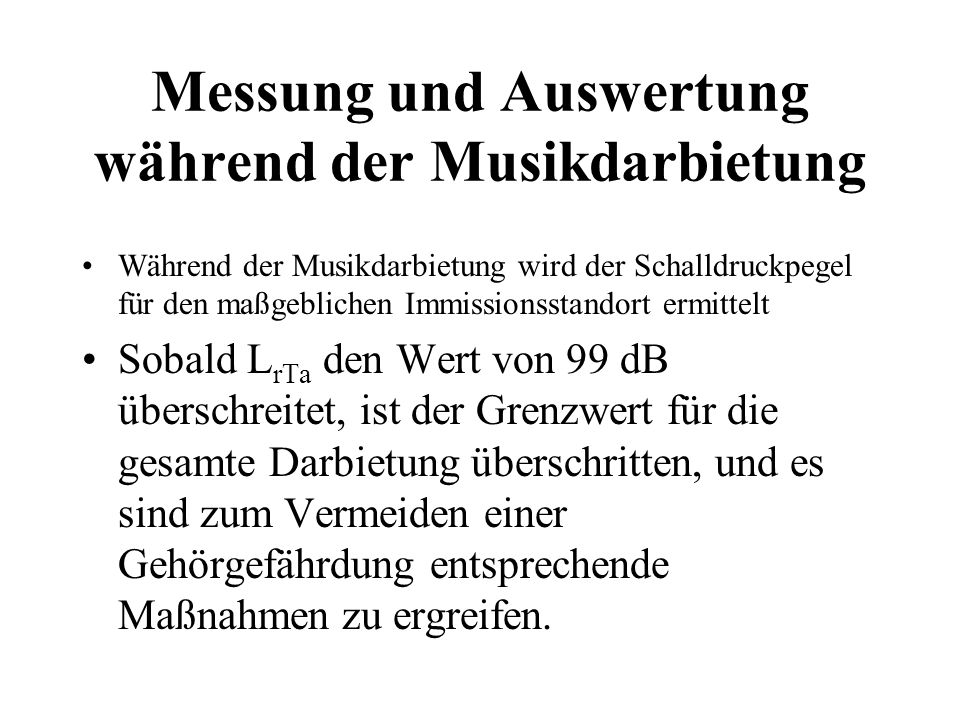 Messung und Auswertung während der Musikdarbietung