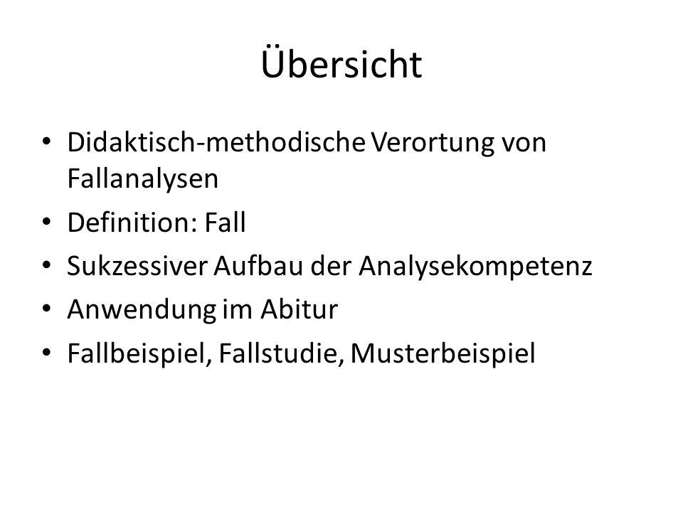 Übersicht Didaktisch-methodische Verortung von Fallanalysen