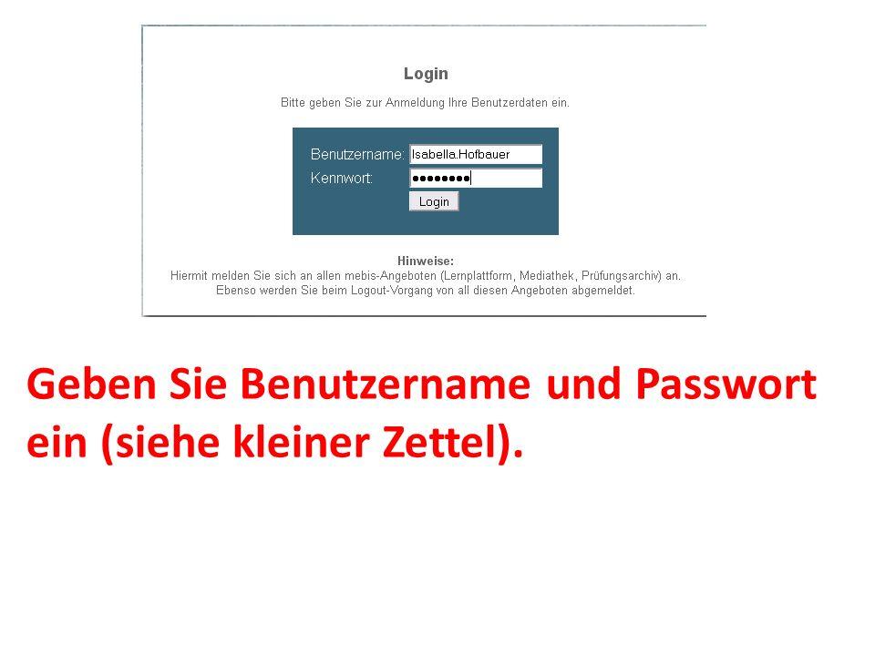 Geben Sie Benutzername und Passwort ein (siehe kleiner Zettel).