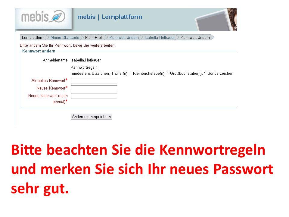 Bitte beachten Sie die Kennwortregeln und merken Sie sich Ihr neues Passwort sehr gut.
