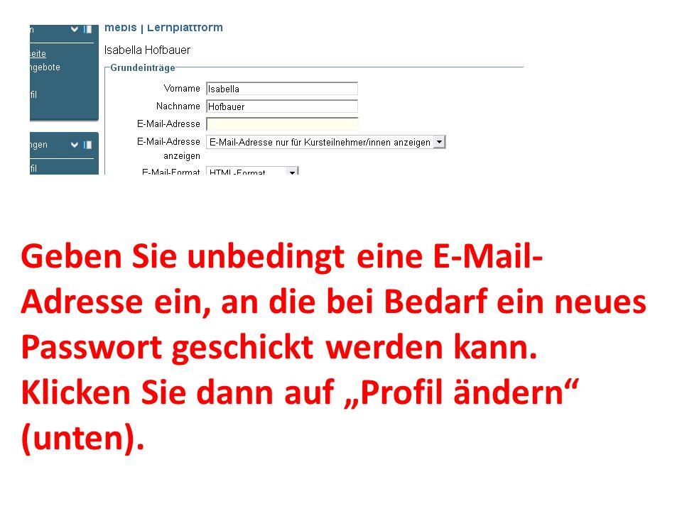 Geben Sie unbedingt eine E-Mail-Adresse ein, an die bei Bedarf ein neues Passwort geschickt werden kann.