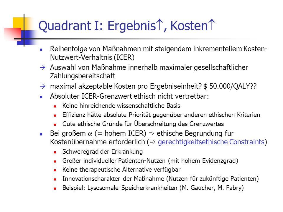 Quadrant I: Ergebnis, Kosten