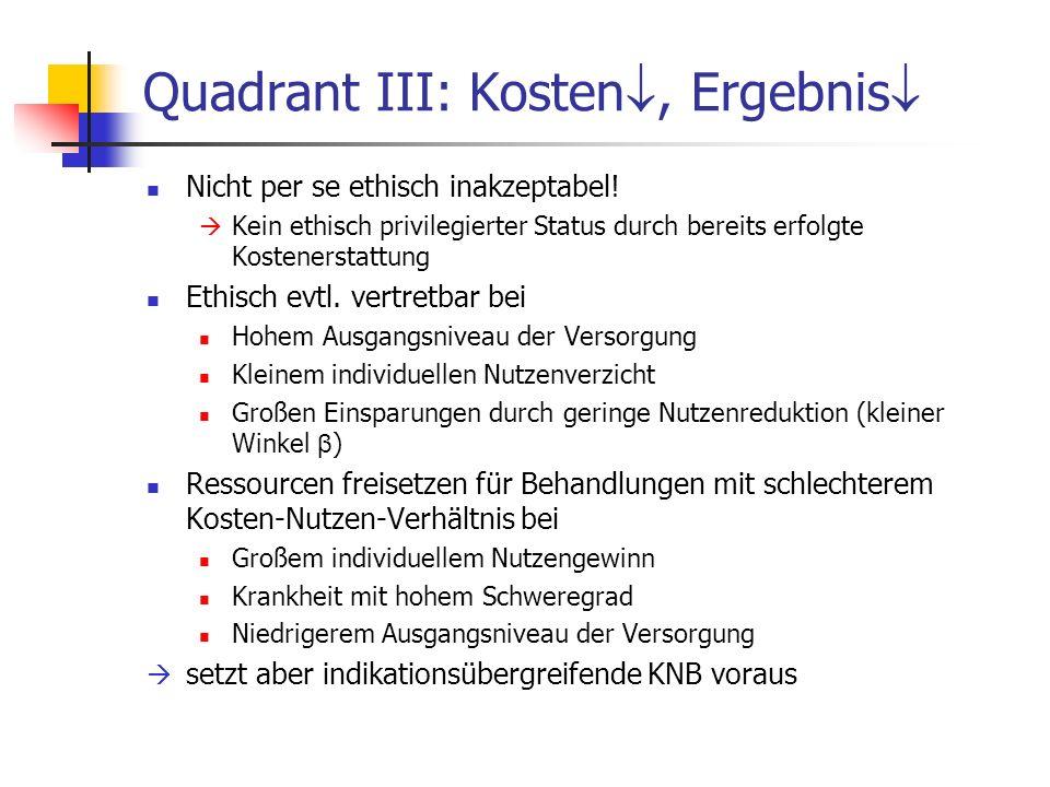 Quadrant III: Kosten, Ergebnis