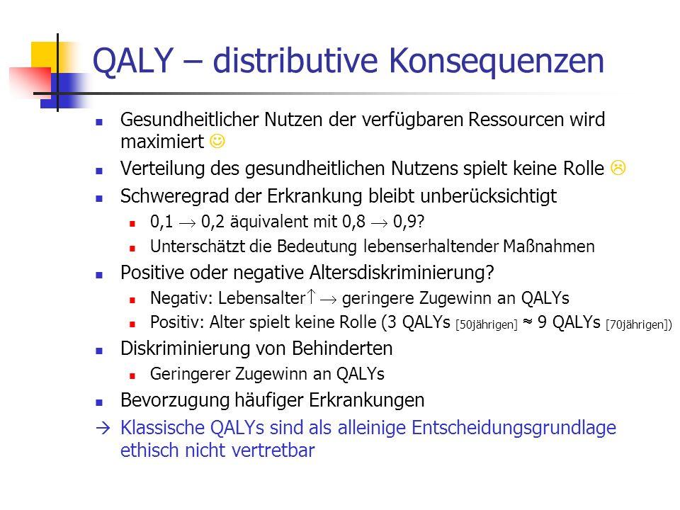 QALY – distributive Konsequenzen