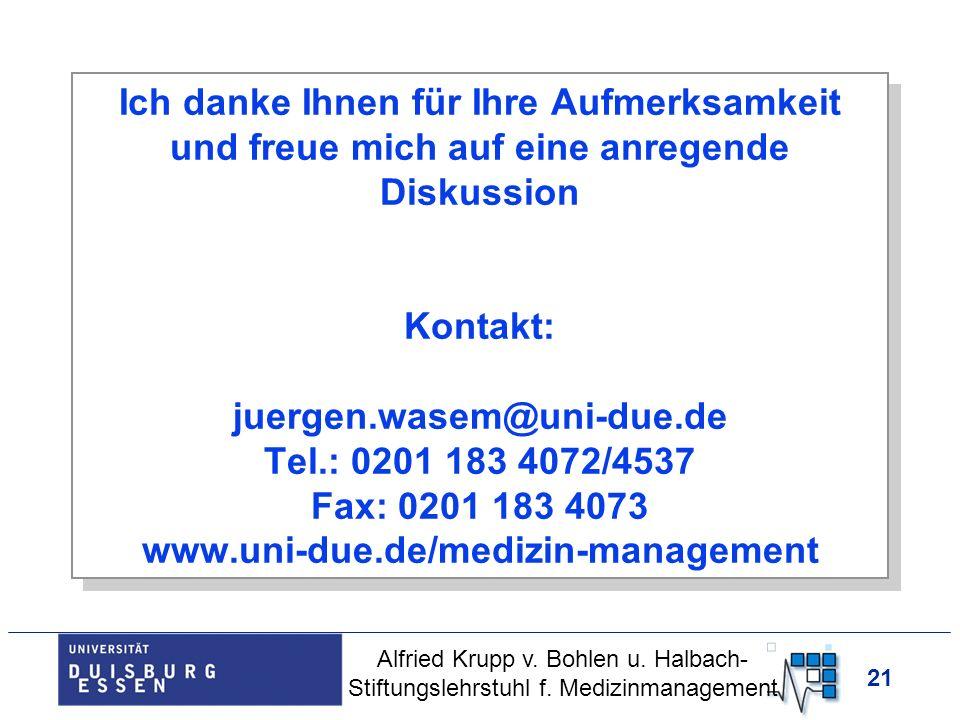 Ich danke Ihnen für Ihre Aufmerksamkeit und freue mich auf eine anregende Diskussion Kontakt: juergen.wasem@uni-due.de Tel.: 0201 183 4072/4537 Fax: 0201 183 4073 www.uni-due.de/medizin-management