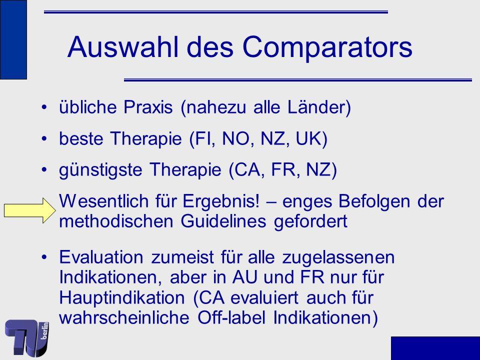 Auswahl des Comparators