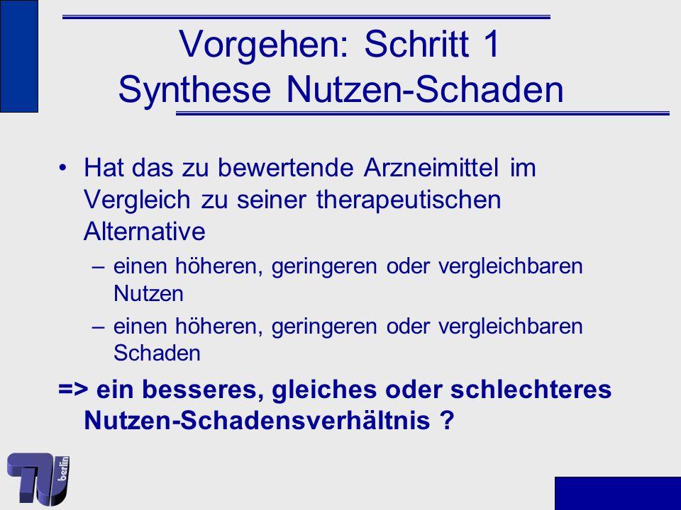 Vorgehen: Schritt 1 Synthese Nutzen-Schaden