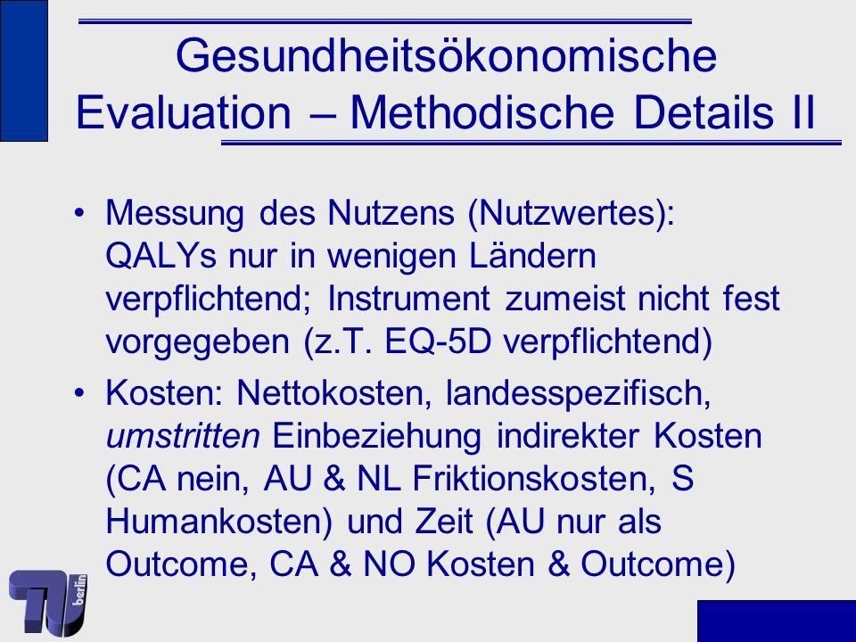 Gesundheitsökonomische Evaluation – Methodische Details II