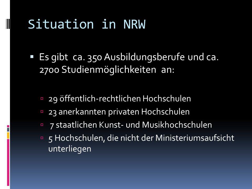 Situation in NRW Es gibt ca. 350 Ausbildungsberufe und ca. 2700 Studienmöglichkeiten an: 29 öffentlich-rechtlichen Hochschulen.