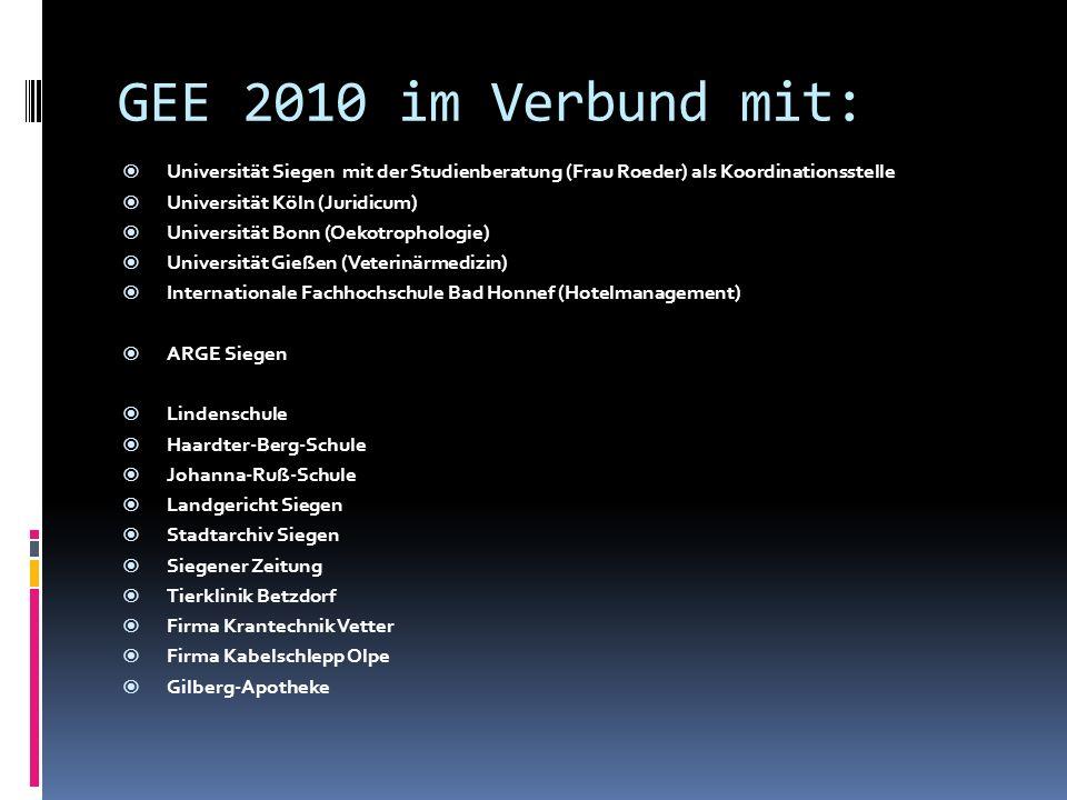 GEE 2010 im Verbund mit: Universität Siegen mit der Studienberatung (Frau Roeder) als Koordinationsstelle.