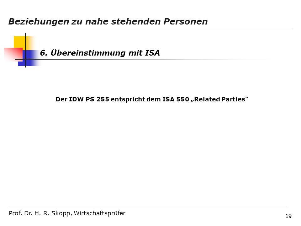 """Der IDW PS 255 entspricht dem ISA 550 """"Related Parties"""
