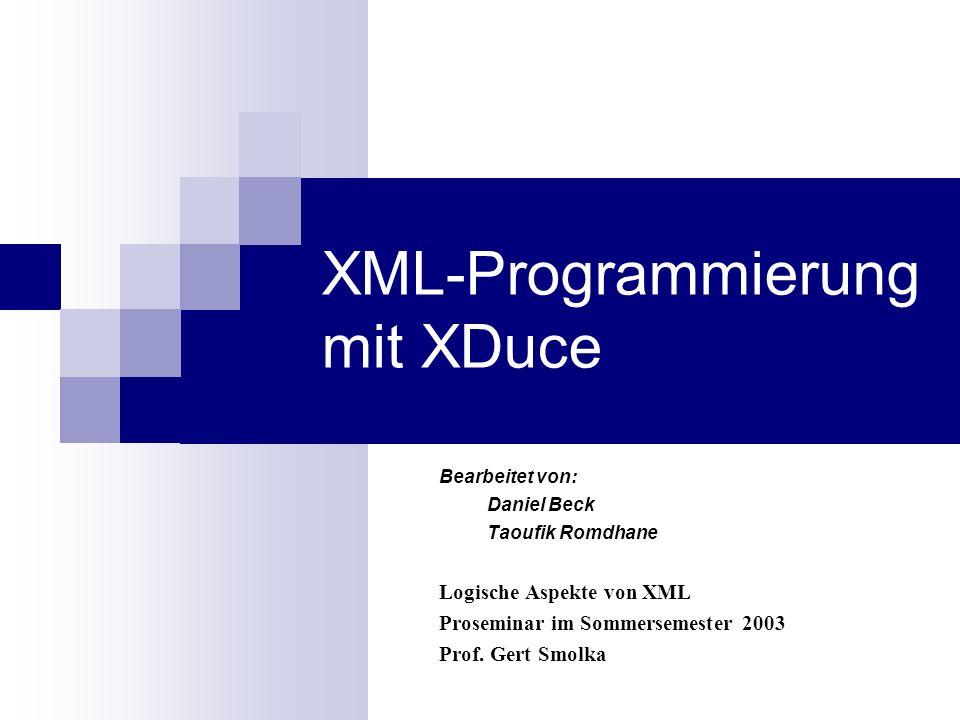 XML-Programmierung mit XDuce