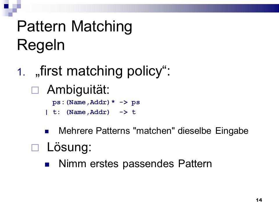 Pattern Matching Regeln