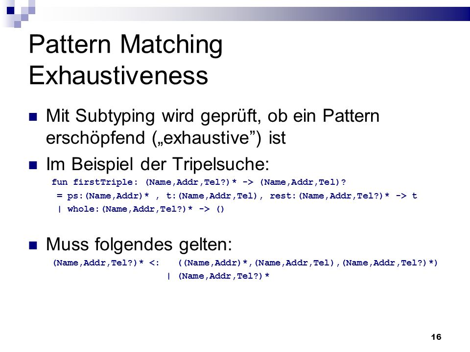 Pattern Matching Exhaustiveness