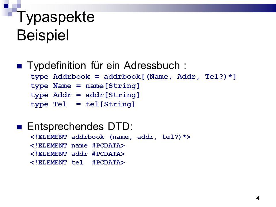 Typaspekte Beispiel Typdefinition für ein Adressbuch :