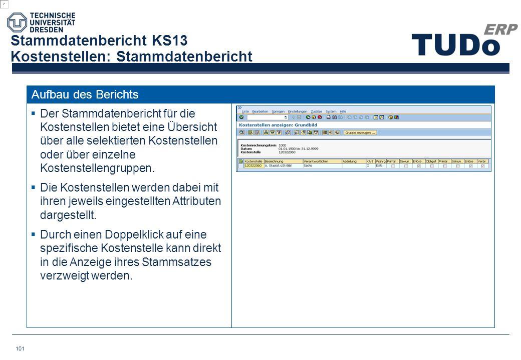 Stammdatenbericht KS13 Kostenstellen: Stammdatenbericht