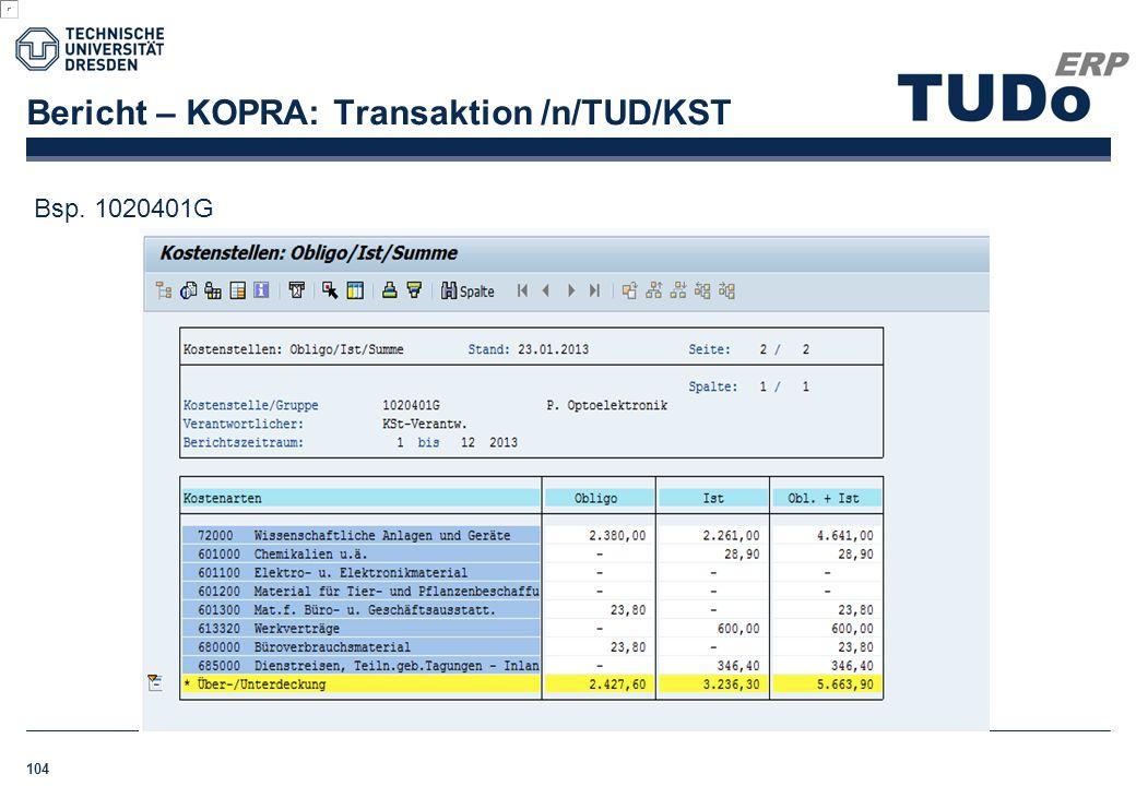 Bericht – KOPRA: Transaktion /n/TUD/KST