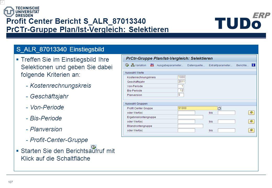 Profit Center Bericht S_ALR_87013340 PrCTr-Gruppe Plan/Ist-Vergleich: Selektieren