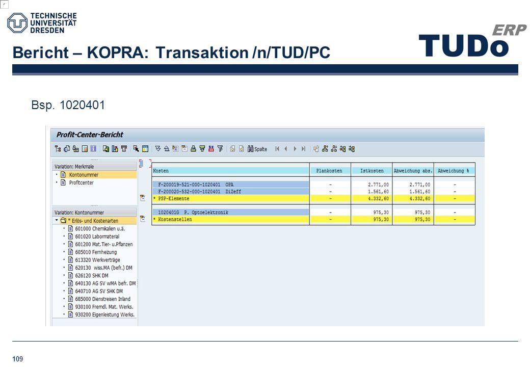 Bericht – KOPRA: Transaktion /n/TUD/PC