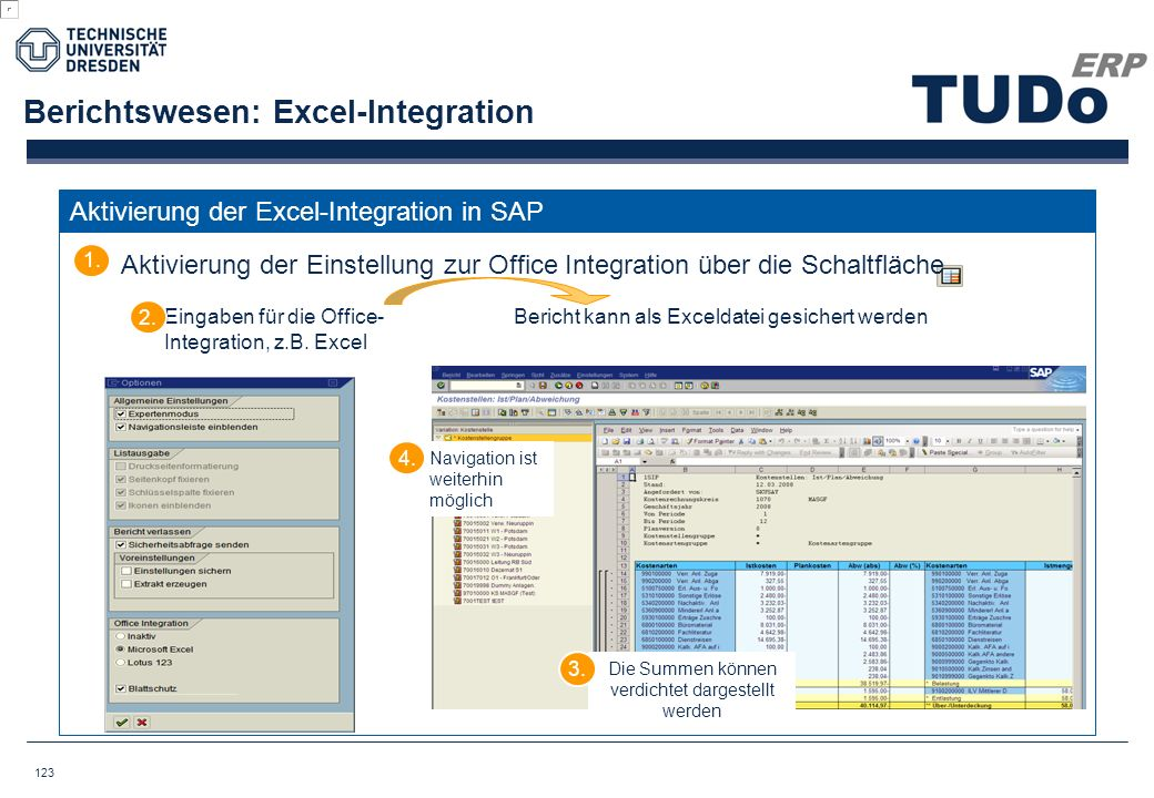 Berichtswesen: Excel-Integration