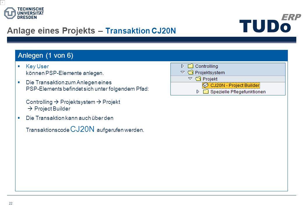 Anlage eines Projekts – Transaktion CJ20N