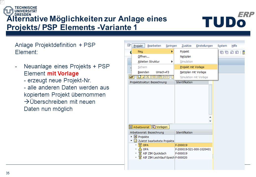 Alternative Möglichkeiten zur Anlage eines Projekts/ PSP Elements -Variante 1