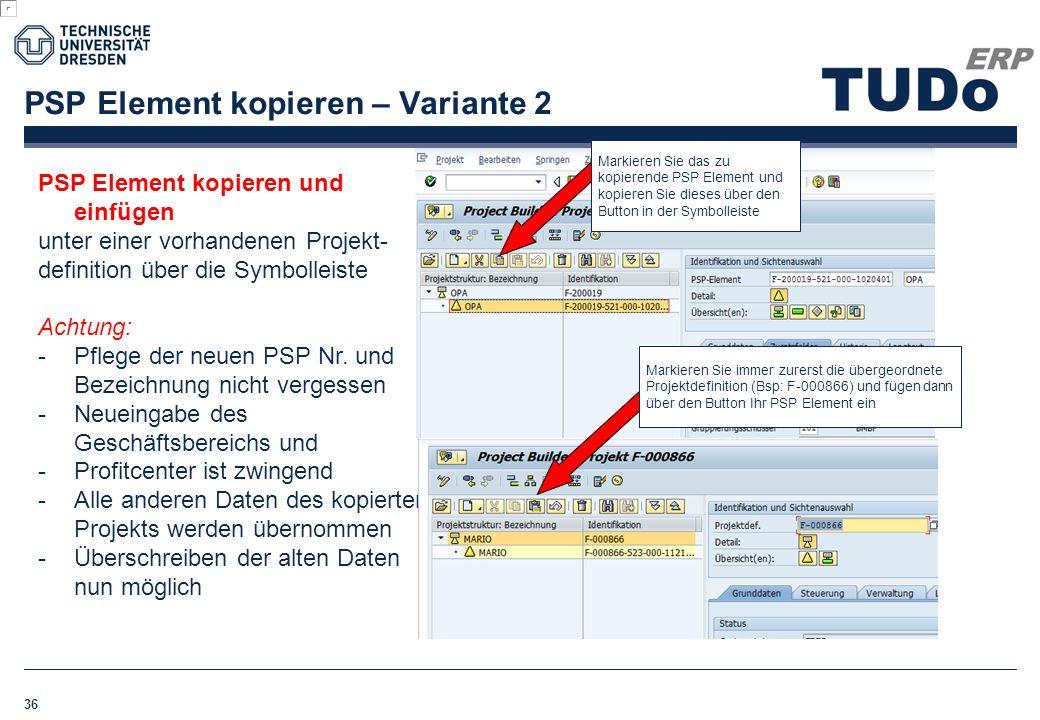 PSP Element kopieren – Variante 2