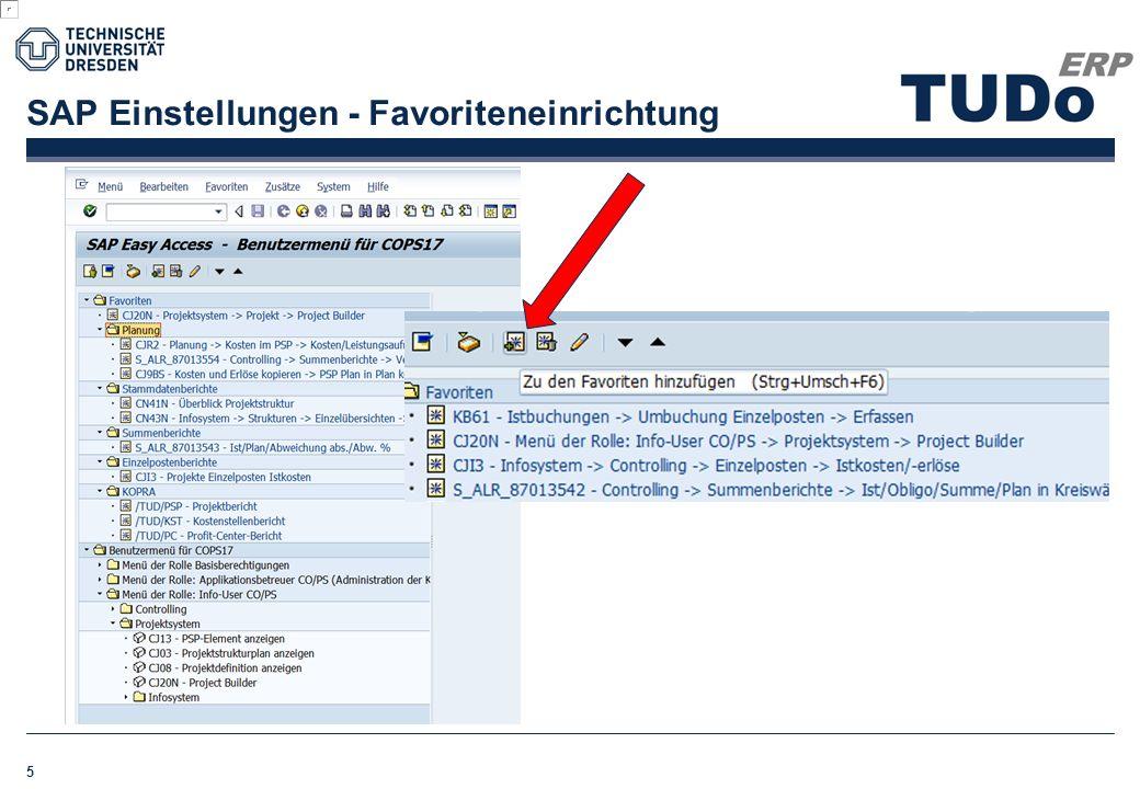 SAP Einstellungen - Favoriteneinrichtung