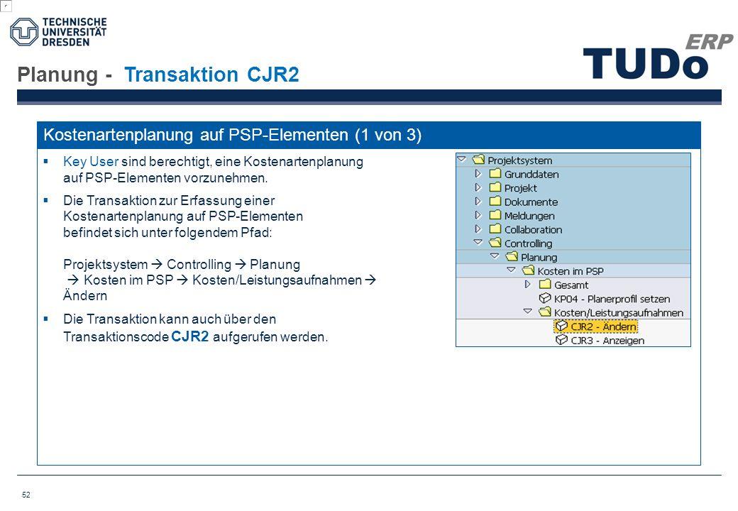 Planung - Transaktion CJR2