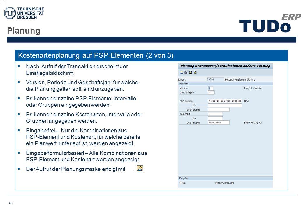 Planung Kostenartenplanung auf PSP-Elementen (2 von 3)