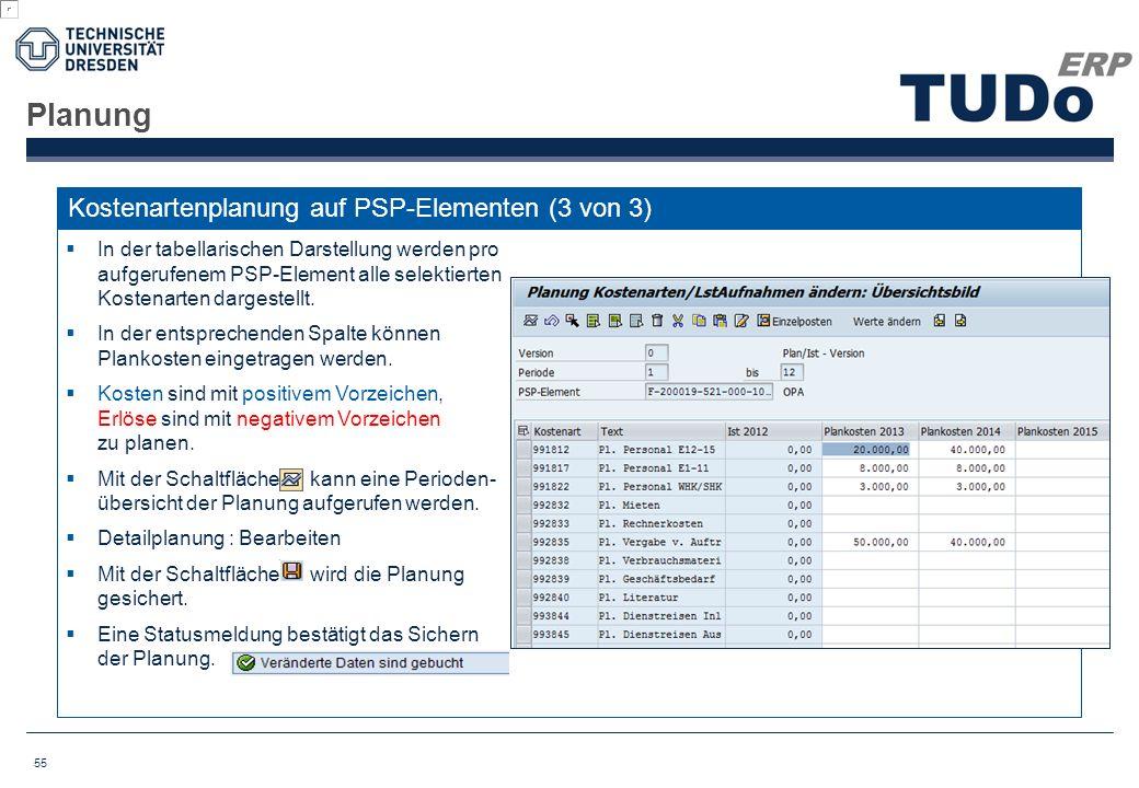 Planung Kostenartenplanung auf PSP-Elementen (3 von 3)