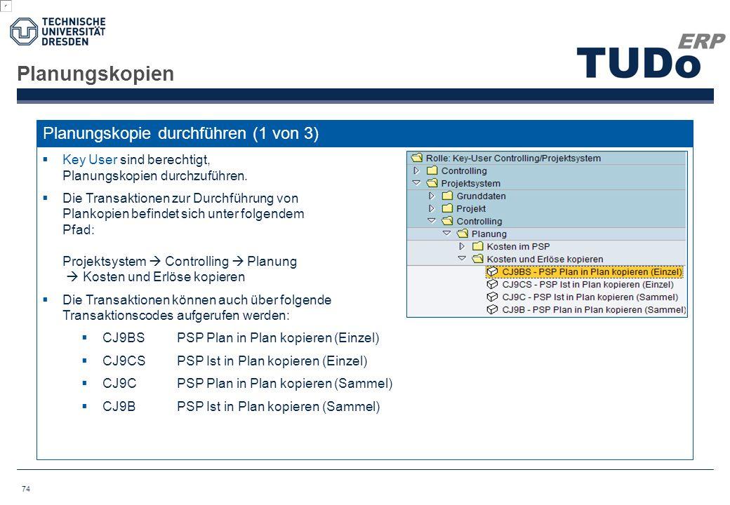 Planungskopien Planungskopie durchführen (1 von 3)