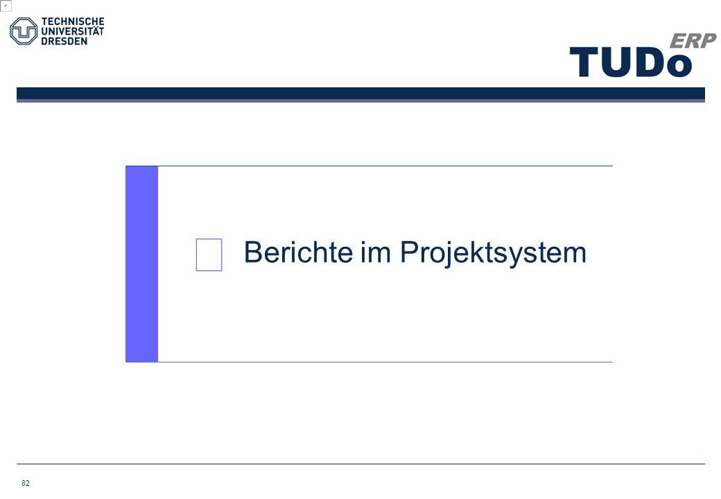  Berichte im Projektsystem 82