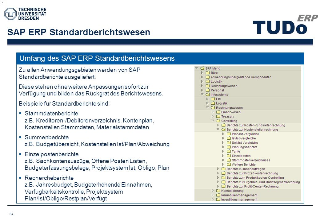 SAP ERP Standardberichtswesen