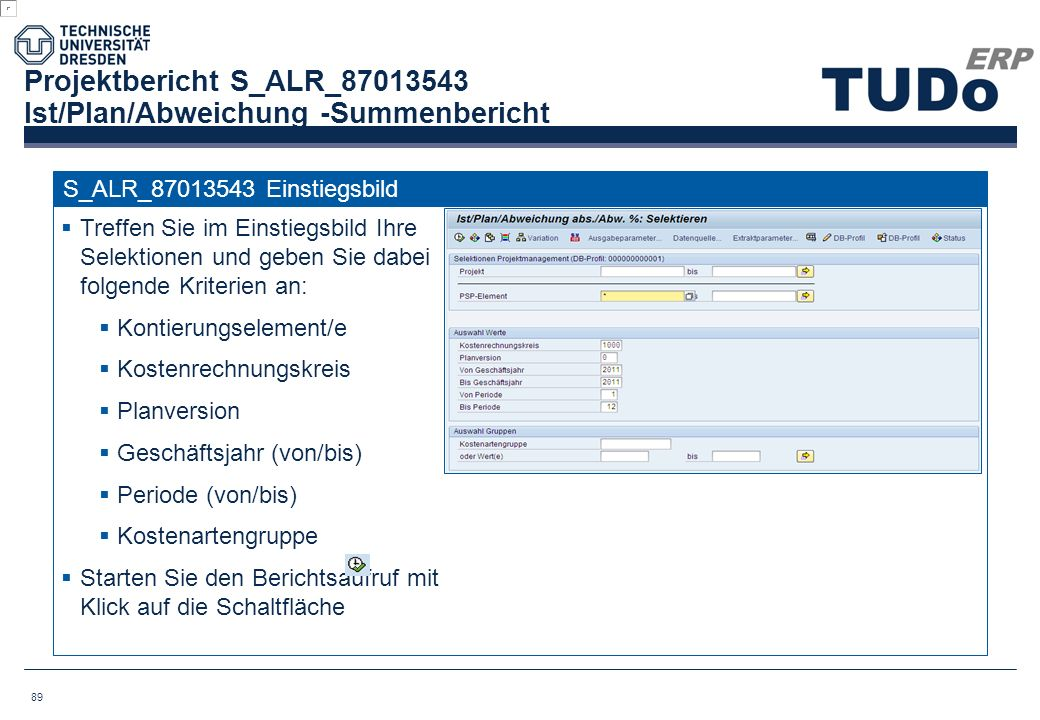 Projektbericht S_ALR_87013543 Ist/Plan/Abweichung -Summenbericht